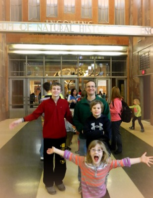 Hamming it up in front of the Cincinnati Natural History Museum