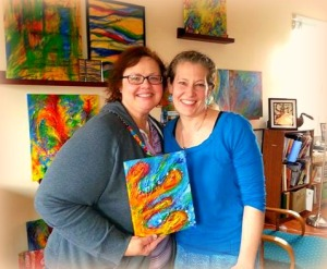 Wendy receives her painting from me