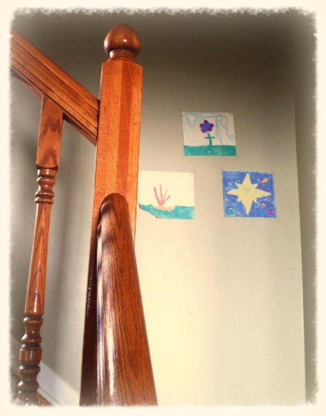 Kids artwork going up the stairs