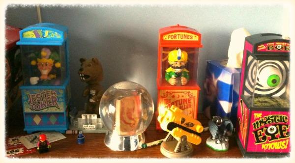 Toys lining a shelf