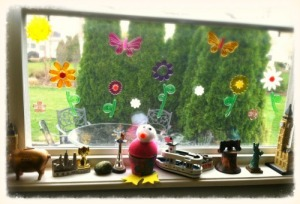 A collection of knickknacks from past travels line the windowsill in our kitchen.