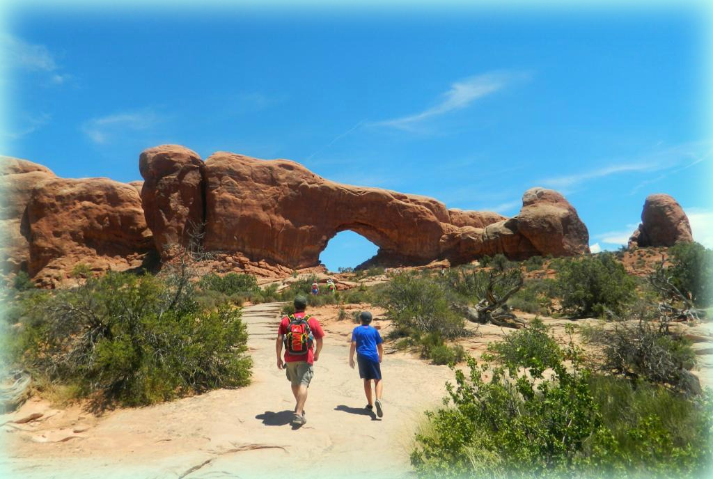 Hiking through Arches