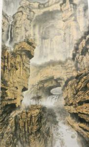 Massive landscape painting by Xiangguo Jia.