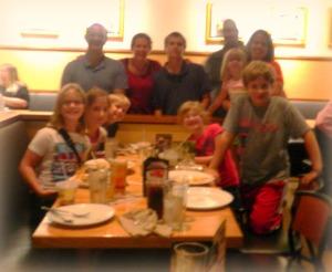 Family gathering in restaurant