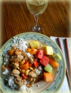 Plate of Chinese Chicken and fruit