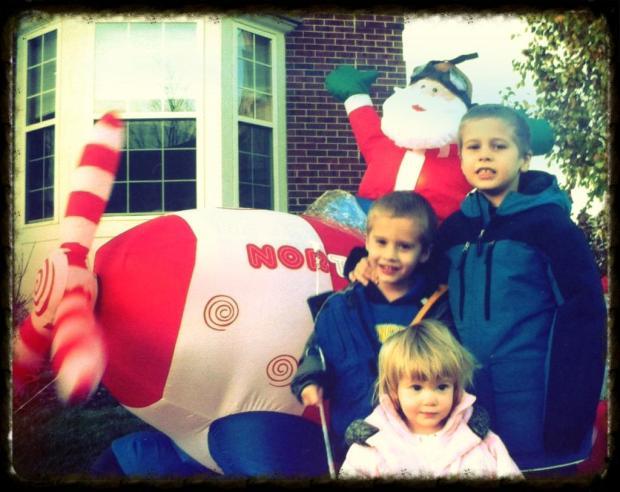 My 3 kids and santa.